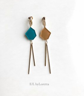 Asymmetry KAKERA w stick pierce/earring(Green × Mustard)