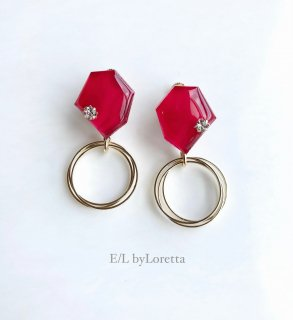 KAKERA triple hoop pierce/earring(Red)