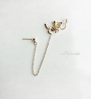 Butterfly chain ear cuff pierce