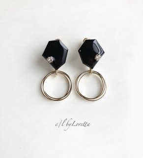 KAKERA triple hoop pierce/earring(Black)