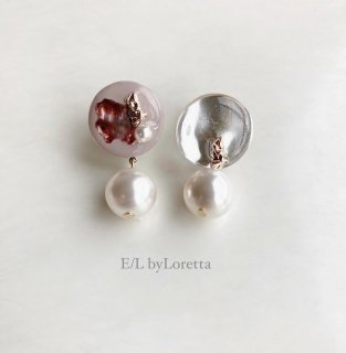 Circle color nuance pearl pierce/earring(Smoky pink)