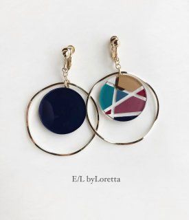 Asymmetry art big hoop pierce/earring(Navy × Mix)