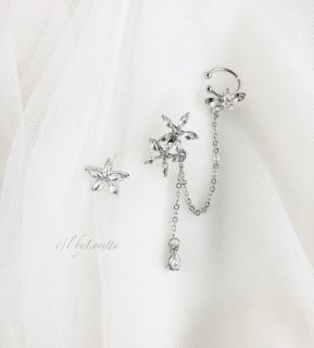 Crystal flower chain pierce ear cuff