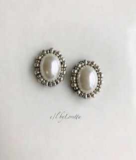 Oval pearl stitch pierce/earring