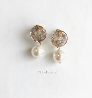 Flower circle pearl pierce/earring(Assort)