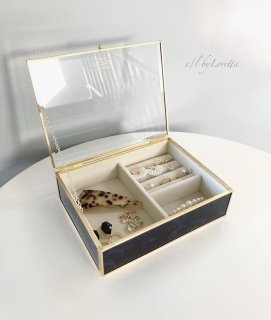 Dark Navy marble jewelry Box