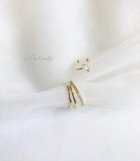 Crystal stone × 3連 crystal ear cuff(Gold)