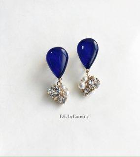 Color shizuku bijou pierce/earring(Blue)