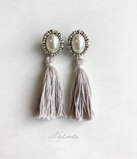 Oval pearl stitch × tassel pierce/earring(GRAIGE)
