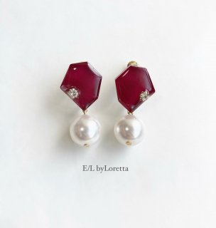 KAKERA pearl pierce/earring �(Bordeaux)