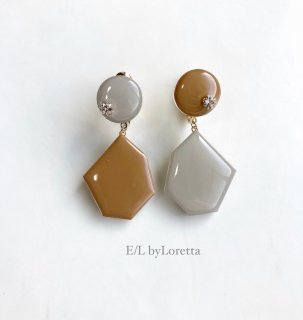 Color Asymmetry KAKERA pierce/earring(Beige × Mustard)