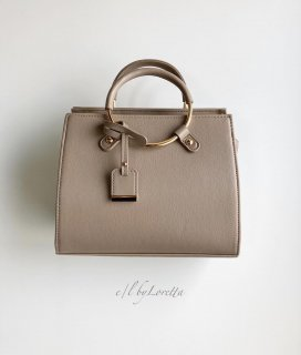 Ring handle mini Boston Bag(Beige)