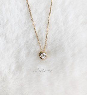 14kgf CZ Heart Necklace