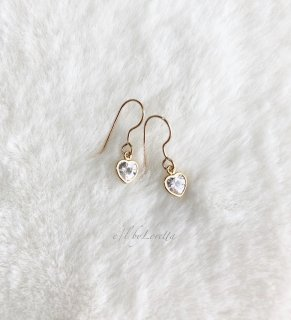 14kgf CZ Heart pierce/earring