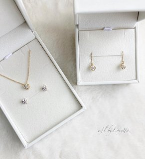 14kgf CZ Heart Necklace & pierce/earring SET