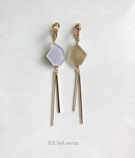 Asymmetry KAKERA w stick pierce/earring(Ice Gray × Gold)