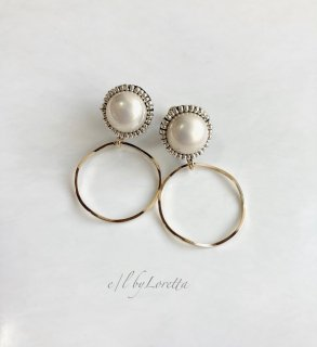 Pearl stitch hoop pierce/earring