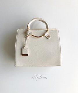 Ring handle mini Boston Bag(Ivory)