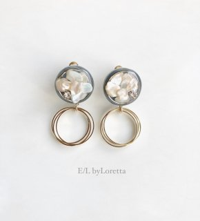 Mini circle shell triple hoop pierce/earring(Light Blue)