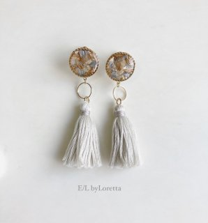 Flower tassel hoop pierce/earring(Assort)
