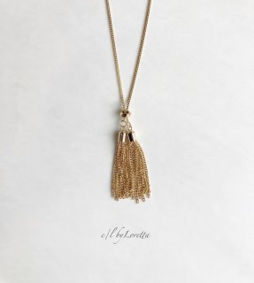 【1/19(tue)21:00〜Order Start.】Metal tassel long Necklace (Gold)