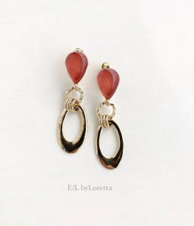 Color shizuku w hoop pierce/earring(Terracotta)