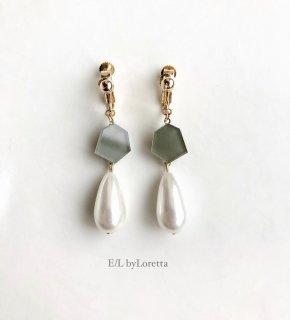 KAKERA Shizuku pearl pierce /earring(Khaki)
