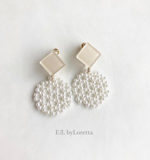 Color square × circle pierce/earring(Ivory)