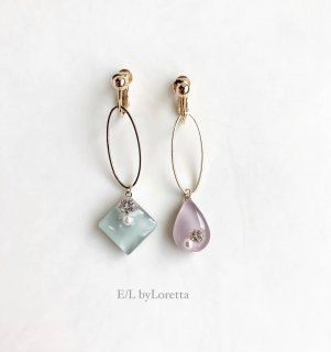 Asymmetry Shizuku square oval hoop pierce/earring(Mint×Lavender)