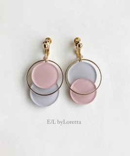 Asymmetry color pallet pierce/earring(Pink×Light Gray)