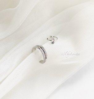 Crystal stone × 3連 crystal ear cuff(Silver)