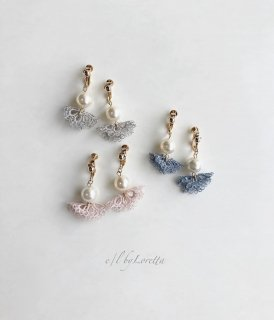 (全3色)Pearl lace tassel pierce/earring
