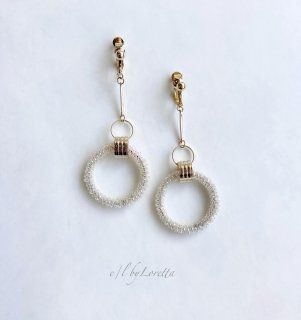 Stick crystal beads hoop pierce/earring(Gold)