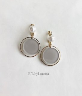 Circle pearl pierce/earring (Beige)
