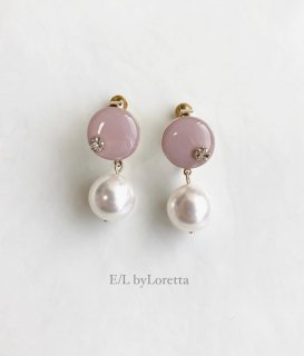 Mini circle color pearl pierce/earring(Pink)