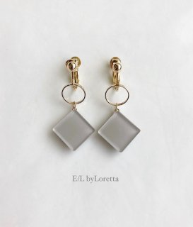 Color square hoop pierce/earring(Beige)