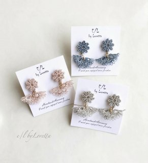 (全3色)Lace flower tassel pierce/earring