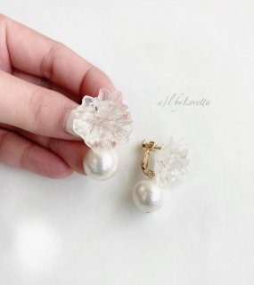 Crystal flower pearl pierce/earring