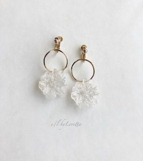 Crystal flower hoop pierce/earring
