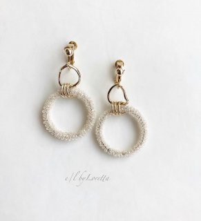 Crystal beads w ring pierce/earring(Gold)