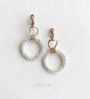 Crystal beads w ring pierce/earring(White × Crystal Mix)