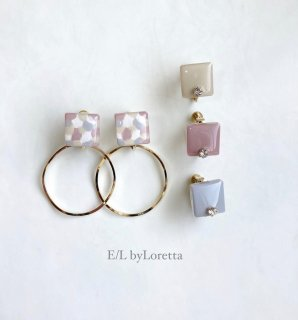 (全4色)2way Asymmetry art square hoop pierce/earring [cc]
