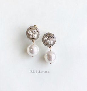 Mini circle bijou color pearl pierce/earring(Beige) [cc]