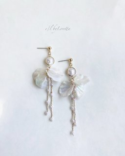 Pearl flower chain pierce/earring