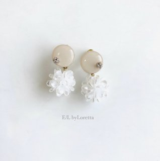 Mini circle shell flower pierce/earring(Ivory) [cc]