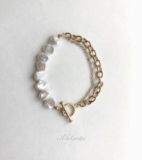 淡水パール W chain mantel bracelet