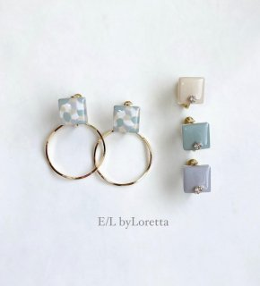 【4/27(tue)21:00〜Order Start.】(全4色)2way Asymmetry art square hoop pierce/earring(Mint Mix) [cc]