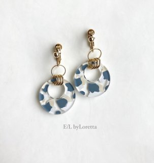 【5/6(thu)21:00〜Order Start.】Art mix color w ring pierce/earring(Blue Mix) [cc]