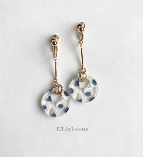 Art mix color circle stick pierce/earring(Blue Mix) [cc]