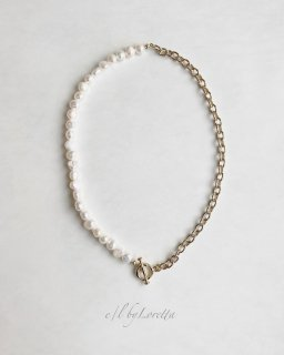 淡水パール × chain mantel necklace